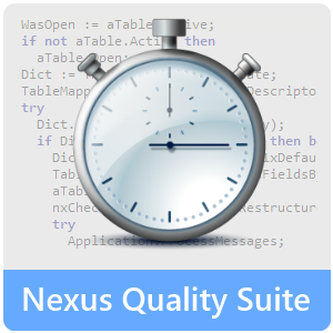 Nexus Quality Suite Logo; TurboPower Sleuth QA; codewatch; quality assurance; profiling; performance
